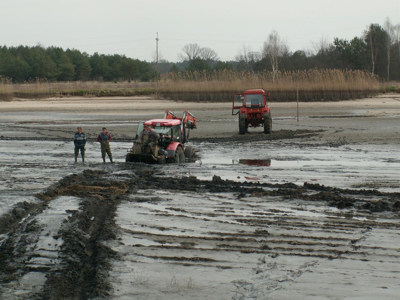 prace na stawach wiosna 2020 - gospodarstwo rybackie w Ruszowie - sprzedaż ryb
